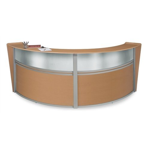 OFM Marque Series Plexi Double-Unit Curved Reception Station, Maple