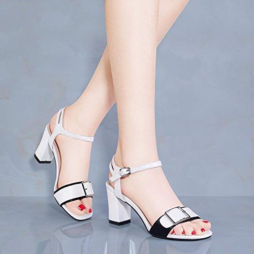 KJJDE Femmes Chaussures Compensées Sandales JZTC-8985 Boucle Métallique High Talon Bout Ouvert Sangle De Cheville 8CM White 2McR3TRAew