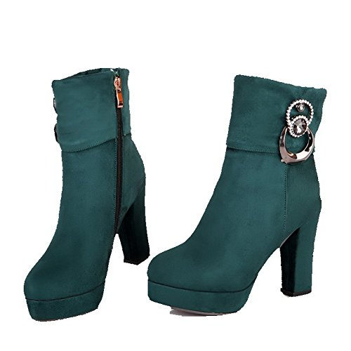 Allhqfashion Women's Solid Imitated Suede High-Heels Zipper Round Closed Toe Boots Green s6M20OMe1