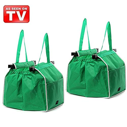 2Pack Reusable Grocery Tote Bags Collapsible Shopping Trolley Bags Green Non-woven Bags Grab and Go Bag with Handles, As Seen On TV