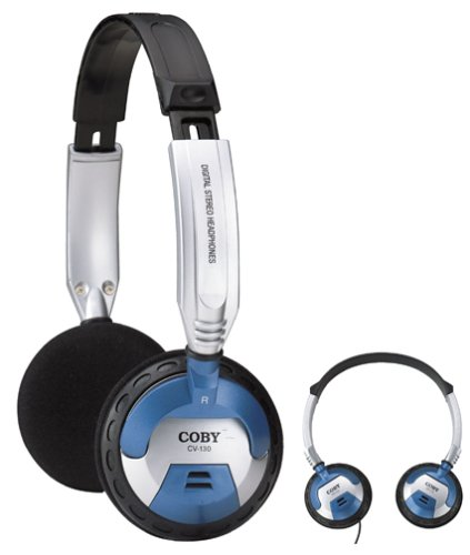 Coby DJ Style High-Performance Stereo Headphones CV130 (Silver) (Discontinued by Manufacturer)