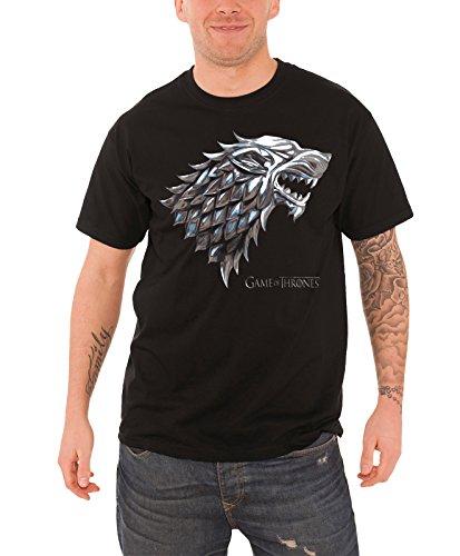 Ptshirt.com-19256-Game Of Thrones T Shirt Chrome Stark House Direwolf Logo Official Mens Black-B00UXEUEXG-T Shirt Design