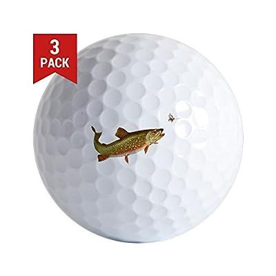 CafePress - Vintage Trout Fishing Illustration Golf Ball - Golf Balls (3-Pack), Unique Printed Golf Balls