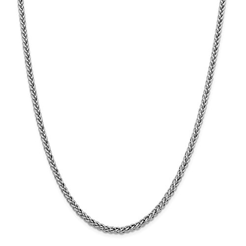 14k White Gold 4.30mm 3 Wire Link Wheat Chain Necklace 18 Inch Pendant Charm Spiga Fine Jewelry Gifts For Women For Her
