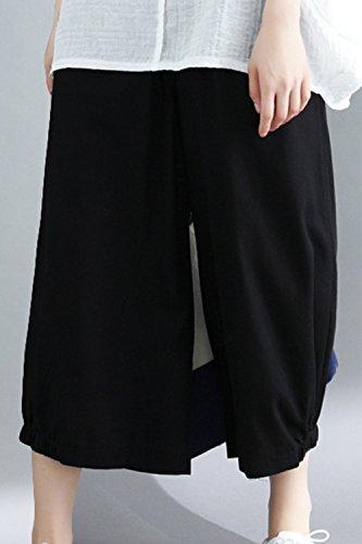 Lin Femmes Les Et Pantalon Plazzo Black Libert Haute Zilcremo Pantalon Taille Coton T8wqcf5x