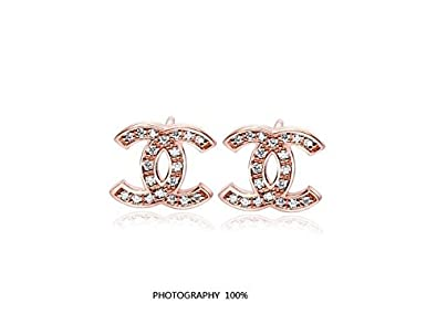 0fee36b4697e Chanel Logo 18 K de oro rosa y cristales Juego de pendientes de ...