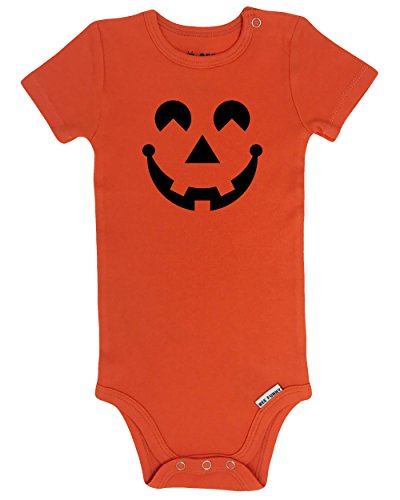 [Bee Funny Baby Halloween Pumpkin Costume Onesie Outfit | Jack-O-Lantern, Orange, 6-12 Months] (Funny Halloween Outfit)