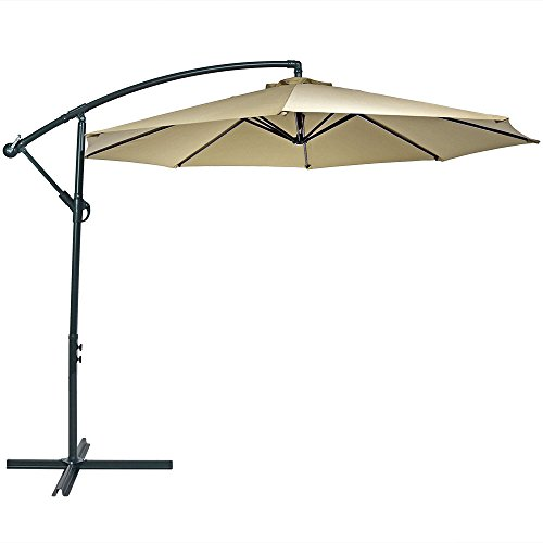 Sunnydaze Patio Offset Umbrella, Steel, 10-Foot, with Cross Base, Crank and Cantilever, Beige