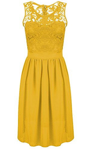 AvaCostume Lace Sleeveless Short Top Party Dress Yellow Chiffon Womens rr7xn4a