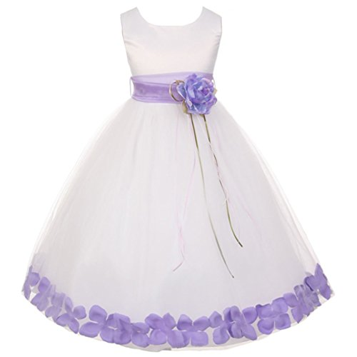 (Little Girls White Sleeveless Satin Bodice Floating Flower Petals Girl Dress with Matching Organza Sash and Double Tulle Skirt - Lilac Set - Size 4)
