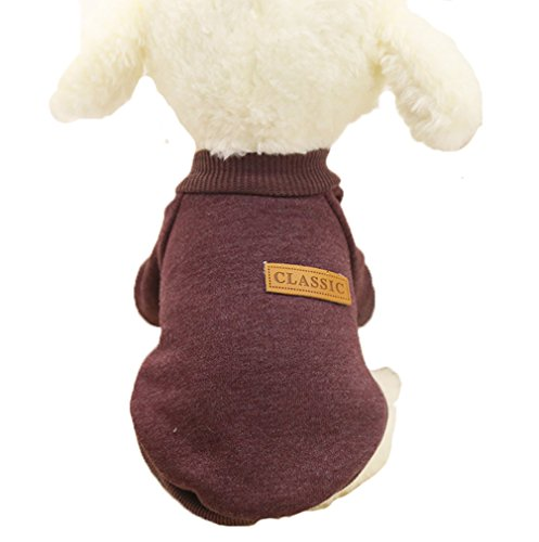 (Mummumi Small Dog Clothes, Puppy Soft Thickening Warm Autumn Outwear Cat Windproof Dog Knit Sweaters Winter Clothes Outfit Apparel For Small Dog Chihuahua,Yorkshire, Terrier, Poodle (S, Brown))