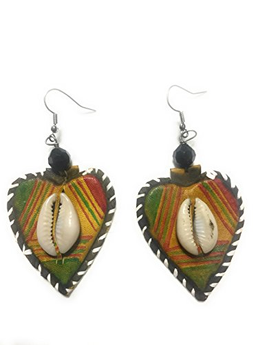 Heart Leather Earrings (Heart Shaped West African Leather Earring w Cowrie Adornment by Doorstoafrica)