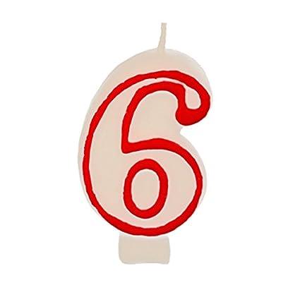 Partygram - Vela de Cumpleaños Número 6 - Blanca con Filo ...