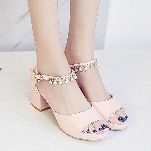 RUGAI-UE Las mujeres High-Heeled Sandals verano estudiantil Diamante Zapatos Zapatos Pink