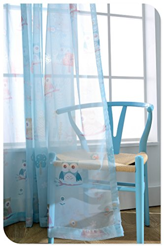WPKIRA Kids Room Decor Cartoon Owl Printed Perspective Voile Tulle Window Sheer Curtains Drape Panel Treatments Rod Pocket Short Curtain for Girls Boys Bedroom Bay Window ,1 Panel Blue W39 x L47 inch
