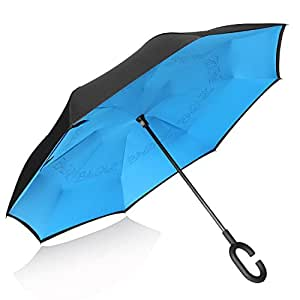 BAGAIL Double Layer Inverted Reverse Folding Windproof UV Protection Big Straight Umbrella for Car Rain Outdoor with C-Shaped Handle, Blue