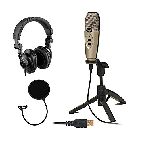 CAD U37 USB Studio Condenser Recording Microphone (Champagne) with Polsen HPC-A30 Monitor Headphone & Pop Filter Bundle