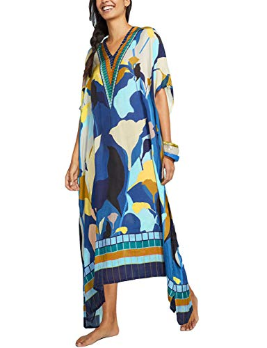 Embellished Kaftan - Bsubseach Women Loose Multicolor Colorblock Beach Dress Half Sleeve Long Kaftan Swimsuit Cover Up