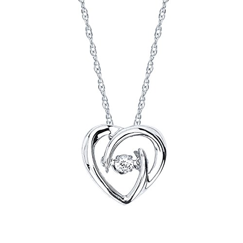925 Sterling Silver Dancing White Diamond Dainty Heart Pendant Necklace, 18