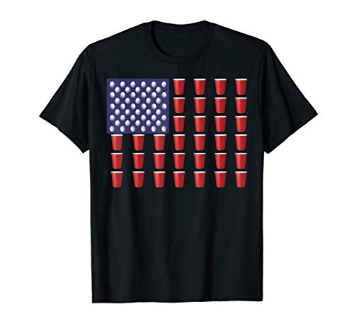 Beer Pong T Shirt Red Cup American Flag USA July 4th