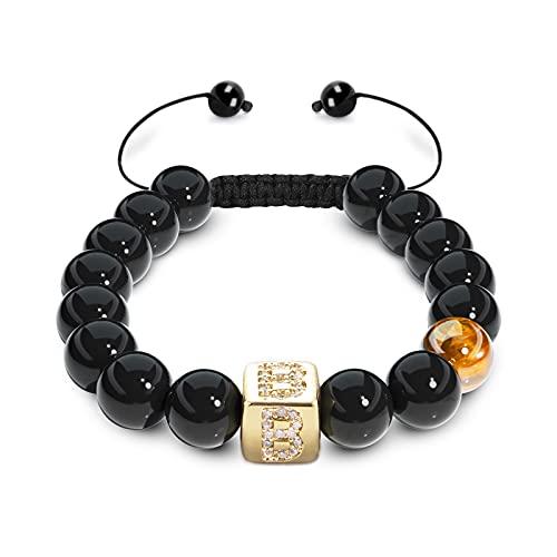 Tiger Eye Bracelet, UHIBROS Initials Bracelets Men, 10mm Black Onyx StoneBraided Rope Bracelets, 14K Gold Plated Letter Initial Bracelet Jewelry Gift for Men and Women-B