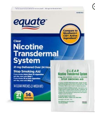 PACK OF 2 - Equate Nicotine Transdermal System Step 1 Clear Patches, 21 mg, 14 Ct