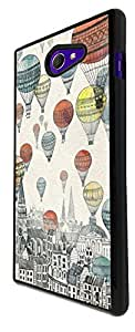 758 - Hot Air Balloons Floating Design For Sony Xperia M2 Fashion Trend CASE Back COVER Plastic&Thin Metal