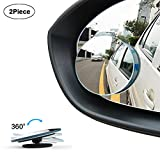 WildAuto Blind Spot Mirrors,360°Rotatable Round HD Glass Frameless Convex Rear View Mirror for Universal Cars