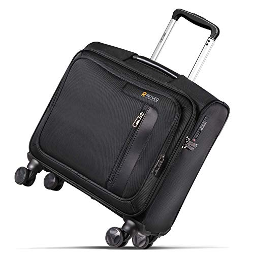 (REYLEO Rolling Briefcase on 8 Wheels Rolling Laptop Bag Rolling Computer Case Spinner Mobile Office Carry On Luggage Built-in TSA Lock for 14.1 Inch Notebook)