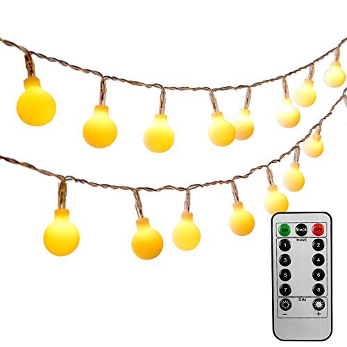 [Remote & Timer] Ledinus 13ft/4m 40 LED Globe String Lights 8 Modes Waterproof Battery Operated Ball Fairy Light for Wedding Halloween Party Christmas Indoor Outdoor (Dimmable,Waterproof, Warm White)
