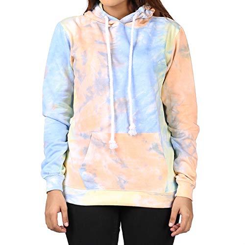 Kara Hub Tie Dye Hoodie Pastel Tie-Dye Hoodies Long Sleeve Pullover Hooded Sweatshirt (X-Large, Blue Apricot Thick - Cotton Couple Hoodie