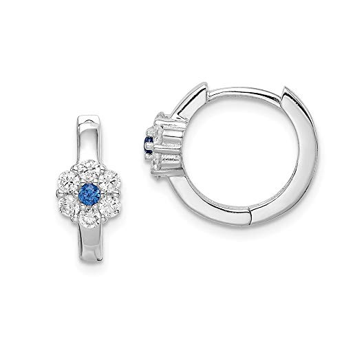 Sterling Silver Rhodium-plated Created Spinel and Cubic Zirconia Flower Hoop Earrings
