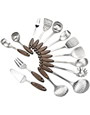 CadineUS 14-Piece Stainless Steel Kitchen Cooking Utensil Set with Wooden Handle