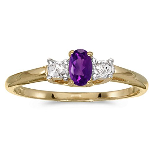 10k Yellow Gold Oval Amethyst And Diamond Ring (Size 7) (Oval Gold Amethyst)