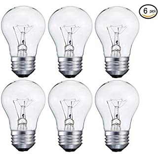 Sterl Lighting - Pack of 6 Bulbs, 40-Watt Decorative A15 Incandescent Light Bulb Medium Standard Household Base (E26), Crystal Clear