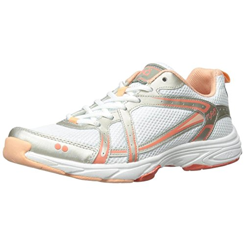 Ryka Women's Approach-W, White/Metallic Steel Gold/Coral Reef/Peach Nectar, 10 M US