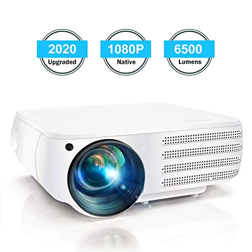 Projector 1080P Native 6500 Lumens HDMI Movie Projector, ±50° 4D Keystone Correction for Home,Office,Entertainment