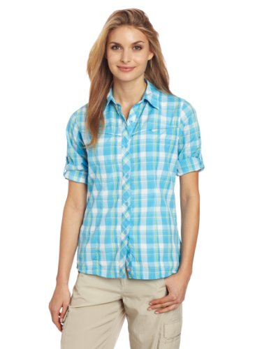 Columbia Women's Bug Shield Plaid Long Sleeve Shirt, Riptide, Small