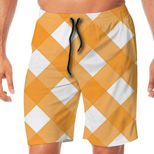 (Quick Dry Men's Beach Shorts Geometric Plaid Print Swim Trunks Surf Board Pants Pockets XL)