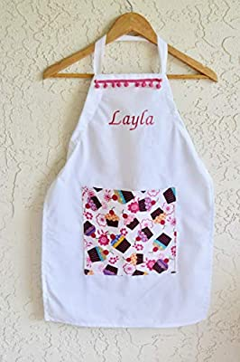 Girls personalized apron, cupcake pocket includes name sizes 18 months through Girls 10-12 Chef Hat option!