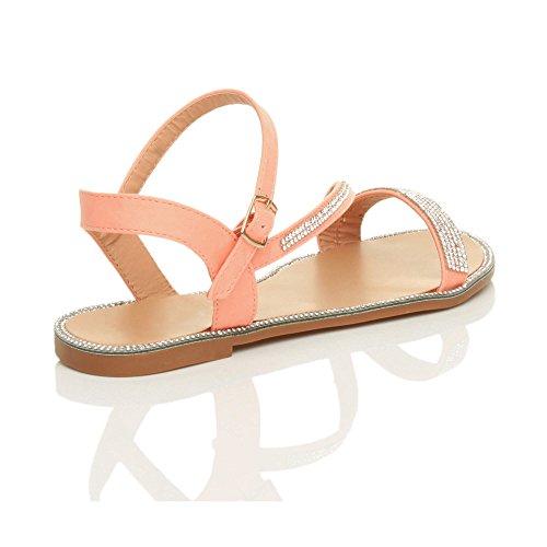 Damen Flach Kleiner Absatz Strass Schnalle Sommer Knöchelriemen Sandalen Größe Rosa Korallenrot mit Strass