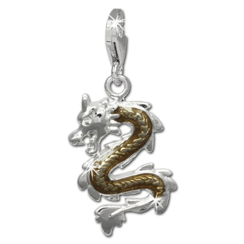 SilberDream Charm dragon bronze enameled 925 Sterling Silver Pendant Lobster Clasp FC834N