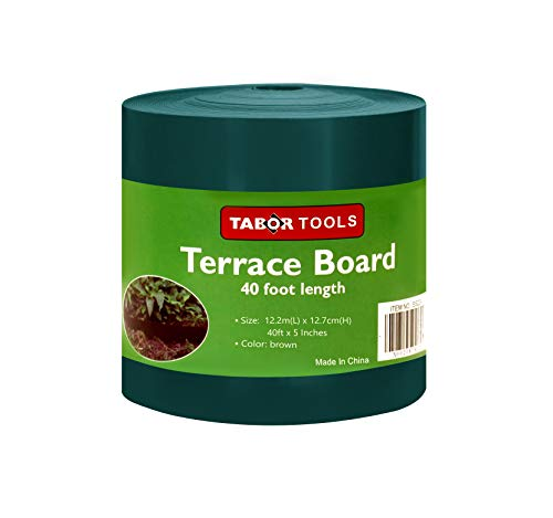 TABOR TOOLS Terrace Board, Landscape Edging Coil, 1/25 Inch Thick, 5 Inch High. ES20. (40 Feet, Green) (Landscaping Boards)