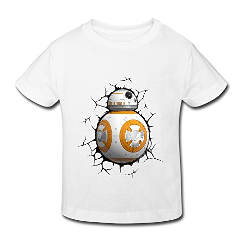 Price comparison product image NNKEY Unisex Toddler Short Sleeve Stay Cute BB8 Robot T-shirt White 2 Toddler