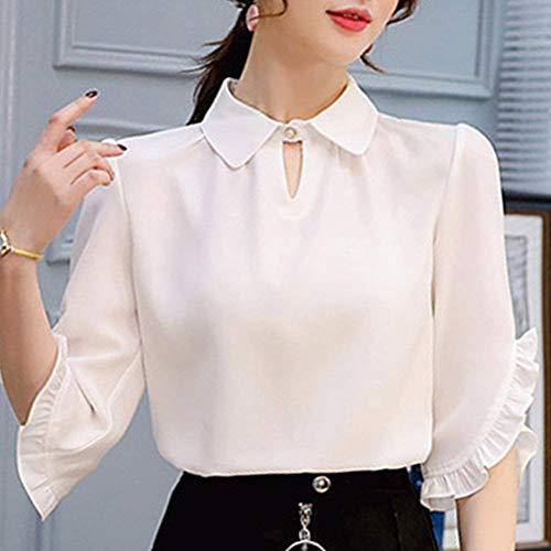 Uni Trous Chemisiers Branch Chemise Button Jeune 4 Et Manches Mode Shirts breal Blanc Mode lgant Tailleur Printemps Manche Femme Casual 3 Col Volants Haut FqFUrPZw