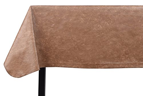 Yourtablecloth Heavy Duty Vinyl Rectangle or Square Tablecloth - 6 Gauge Heavy Duty Tablecloth - Flannel Backed - Wipeable Tablecloth with Vivid Colors & Many Sizes 52 x 120 Camel Print