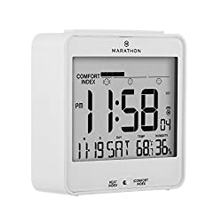 MARATHON CL030054WH Atomic Desk Clock, With Backlight, Heat & Comfort Index - Batteries Included