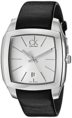 Calvin Klein Men's K2K21120 'Recess' Silver Dial Black Leather Strap Swiss Quartz Watch