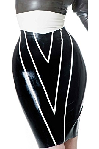 Westward Bound Vendetta Pencil Skirt Black with Warm White Trim