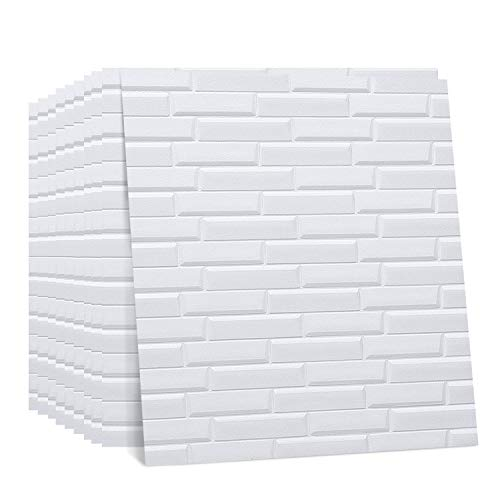 Regetek 3D Wall Panels Faux Foam Wallpaper Self-Adhesive Decorative for Interior TV Walls/Sofa Background Wall Decor DIY Peel and Stick (White Brick Wallpaper-10 Pack 58.13 sq.ft) (Faux Wall Covering)